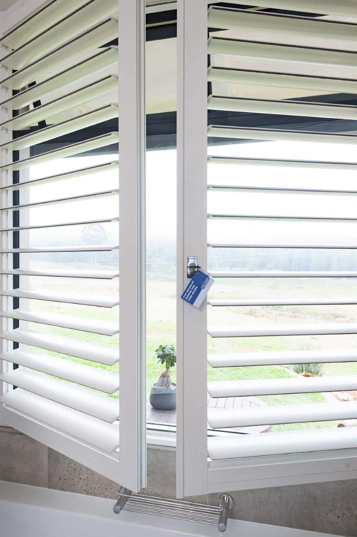 Trellidor Security Shutter aluminium louvre-style shutter with purpose-designed strengthening features.