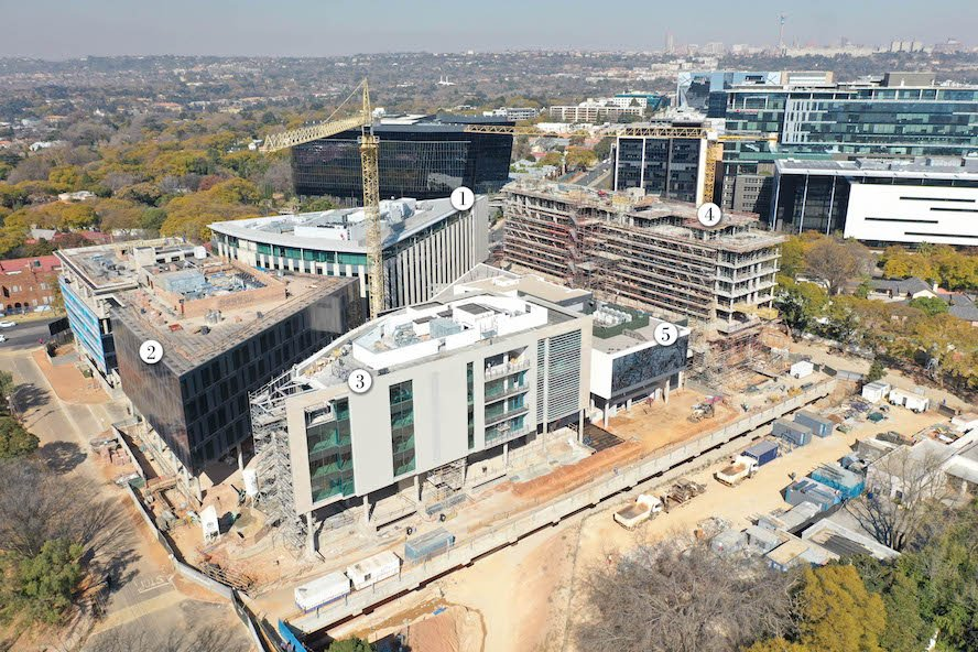 Concrete enhancing and repair products supplied by a.b.e. Construction Chemicals are being used at the Oxford Parks development in Rosebank, Johannesburg.